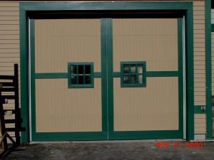 Residential Garage Door with Green Trim | Scarborough, ME